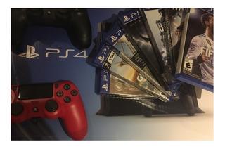 Playstation 4, Usado De 500gb Con 9 Juegos Y 2 Controles!!!!