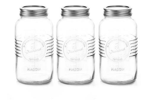 Imagen 1 de 4 de Set 3 Frascos Tapadera Enroscable Mason Jar 1l Nv-1007