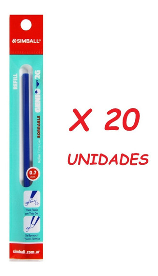Repuesto De Lapicera Simball Roller Genio 2g Gel X 20 Unid