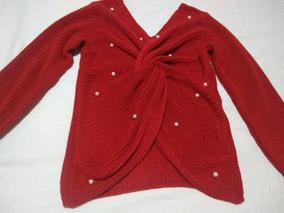 Camisa Feminina Tricô Vermelho Manga Longa