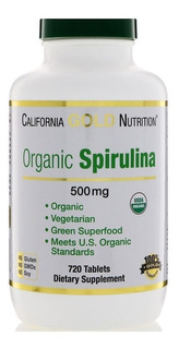 Spirulina Orgânica 500 Mg 720 Cáps California Gold Nutrition