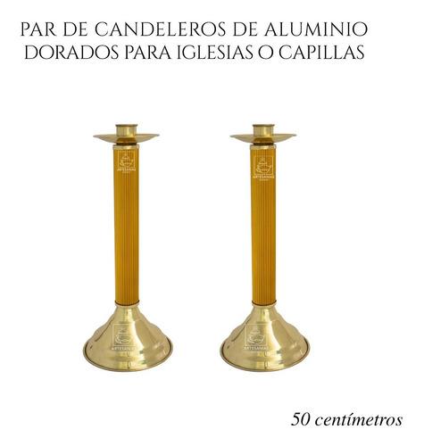 Imagen 1 de 3 de Candelero De Aluminio Para Iglesias 50 Cm 2 Piezas