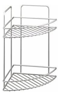 Set Rack Organizador Baño 2 Estante Metal Cromado Rinconero