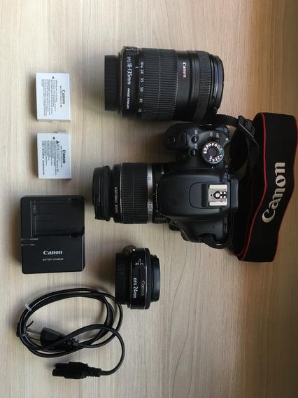 Kit - Camera Canon T3i + Lentes - Usado Em Ótimo Estado
