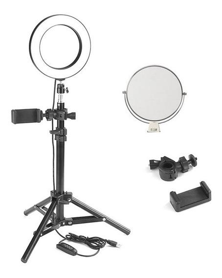Luz Ring Light Led 16cm Maquiagem 3500k 5500k C/ Espelho