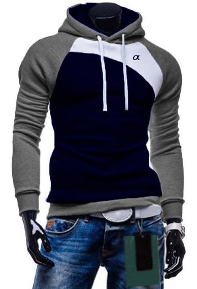 Casaco Blusa De Moletom Elastano Slim Fit Masculina Style