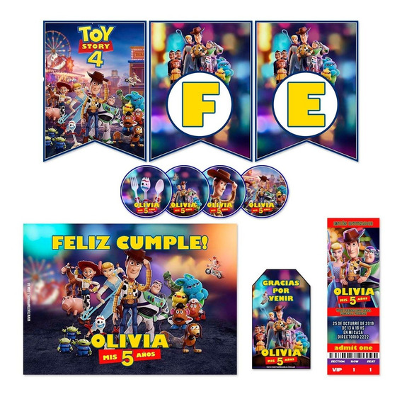Kit Toy Story 4 Invitaciones Banderin Stickers Para 30
