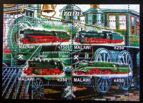 Malawi Trenes, Bloque 4 Sellos Locomotoras 12 Usado L7438