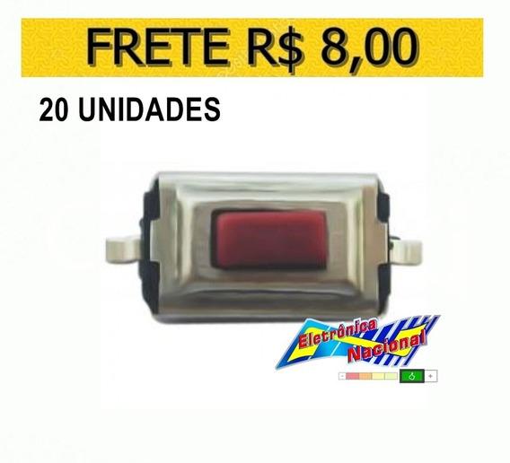 Chave De Toque Smd 2 Term. 3x6x2,5mm, Lote 20 Unidades