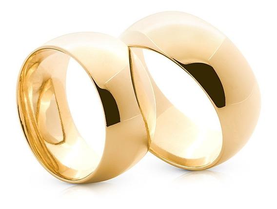 Par De Aliança 10mm Banhadas A Ouro 24k Casamento