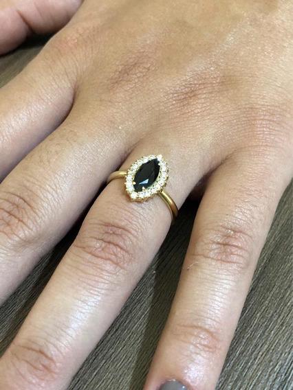 Anel Feminino Ouro 18k 750 Tipo Chuveiro Pedras Sintéticas