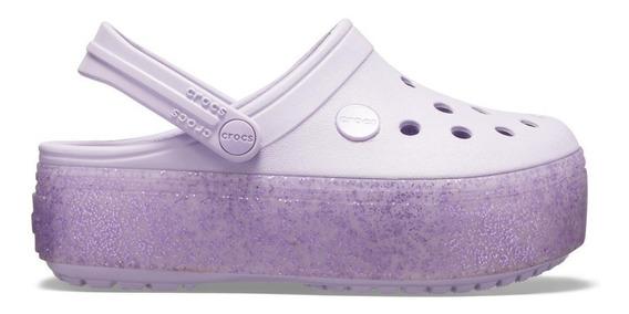 Crocband Platform Clog Gs Lavender/lavender Sparkle