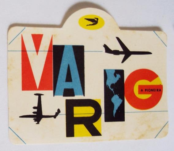 Etiqueta De Viagem Malas Varig Original Retangular Colorida