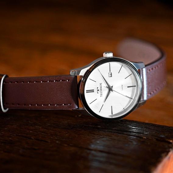 Relógio Technos Masculino Prata Com Couro 2115mpp/1k