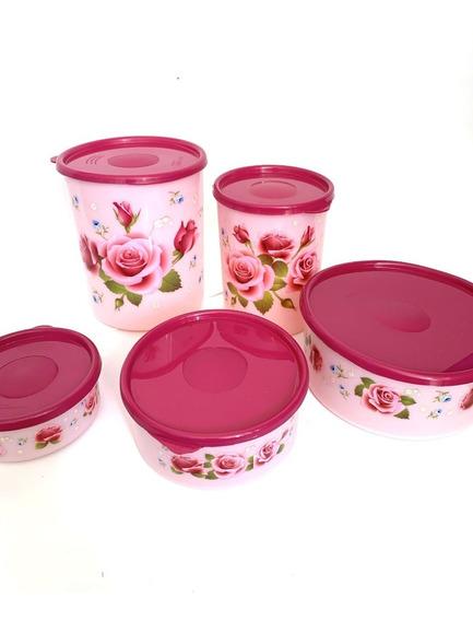 Set De Contenedores Para Alacena Floral Con Tapas. 5 Pzs