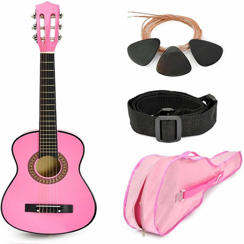 Guitarra De Madera Rosa Con Funda Y Accesorios