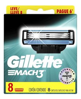 Gillette Cartuchos Repuesto De Afeitar Mach3 8 Unidades