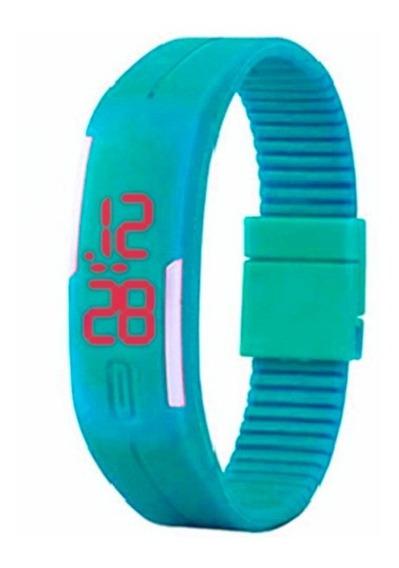 Relógio Digital Led Azul Bebê - Pulseira Ajustável - Unissex