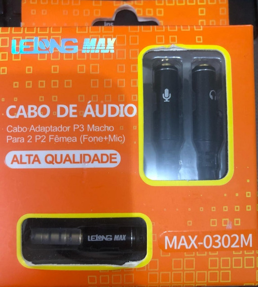 Cabo De Audio Adaptador P3 Macho Para 2 P2 Femea