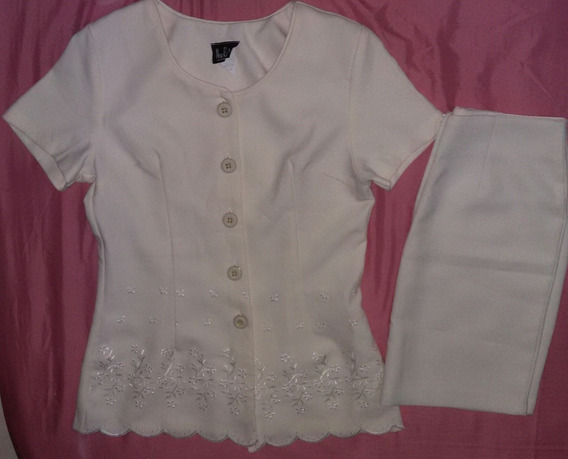 Conjunto De Camisa Y Falda Color Hueso Talla S