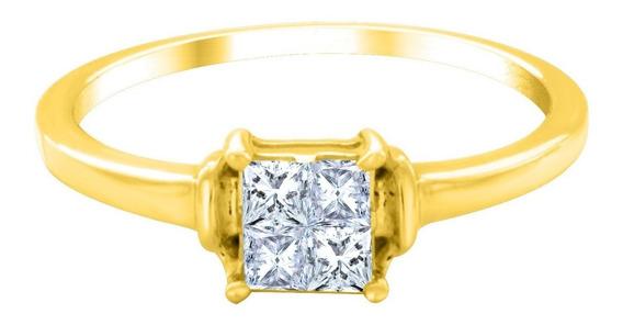 Anillo De Compromiso De Oro De 14 K Con 4 Diamantes Ghiberti