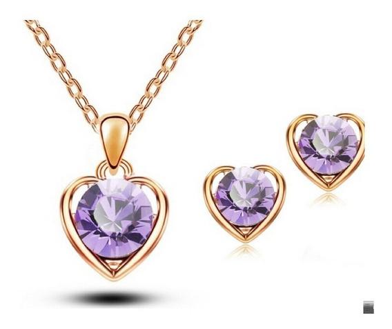 Colar Feminino + Brincos Coração Banho Ouro Rose + Cristal