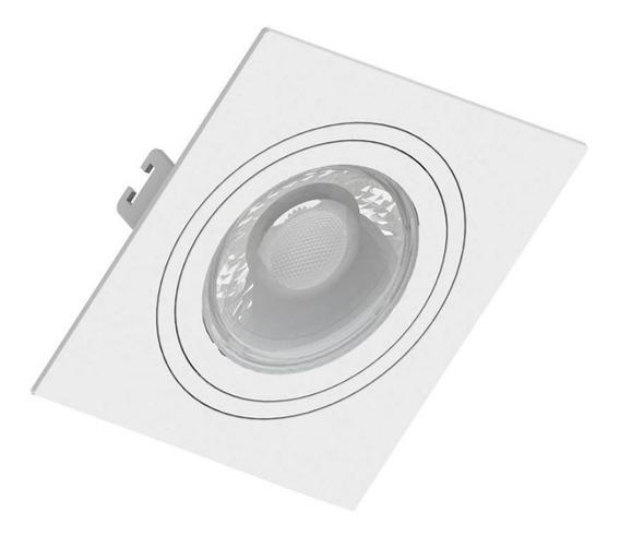 Embutido Dicroica Quadrado Face Plana Direcional Branco Gu10