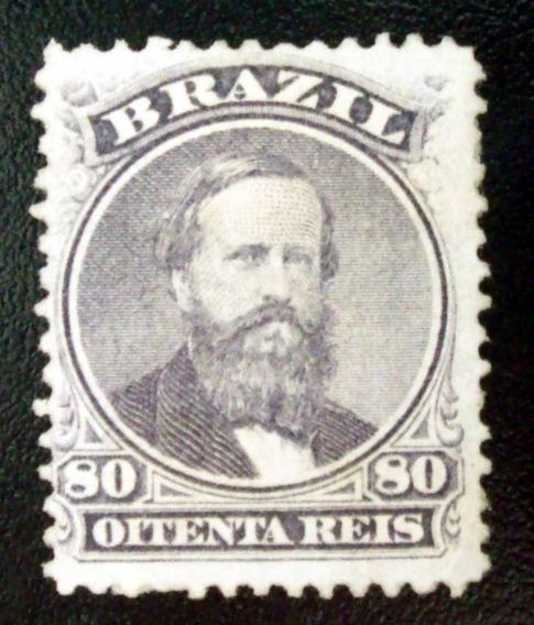 Brasil, Sello Yv. 26 80r Violeta Pap Blanco 1866 Nuevo L6590