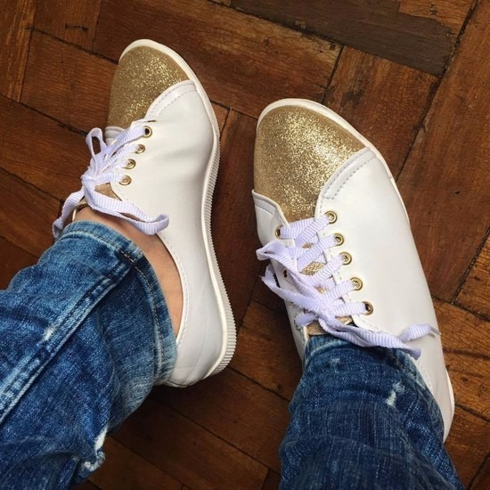 Tênis Claro Com Dourado Glitter *-*
