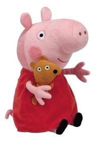 Peppa Pig Pelúcia 30cm - Peppa Com Ursinho - Original