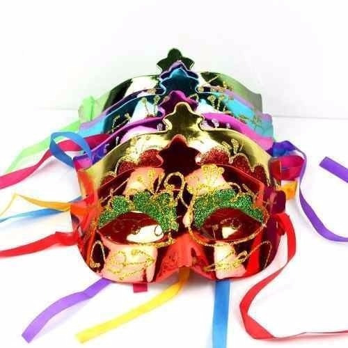 20 Antifaz Plastico Diamantina Carnaval Fiesta Batucada
