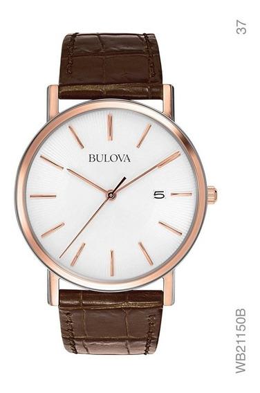 Relógio Bulova Masculino Clássico Pulseira Couro Wb21150b