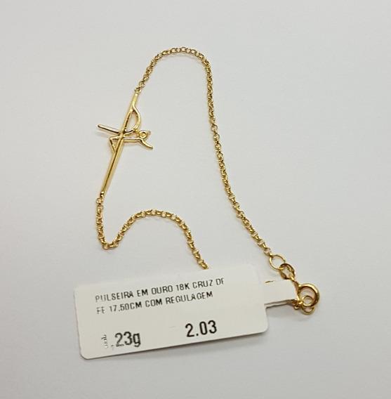 Pulseira Em Ouro 18k Cruz Com Fé 1,23g 17,50cm