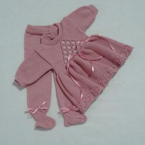 Vestido Calça Bebê Bordado Mão Fioseda Pérolas Fitas Ref.131