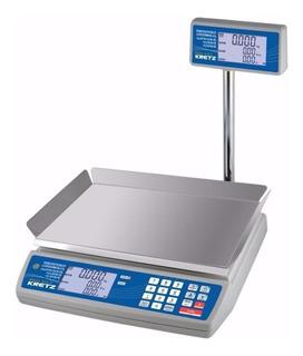 Balanza comercial digital Kretz Novel Eco 2 30 kg con mástil 110V/220V blanco