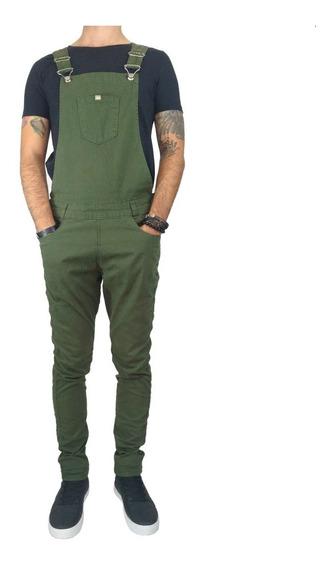 Macacão Jardineira Masculino Jeans Sarja Original Verde Fm