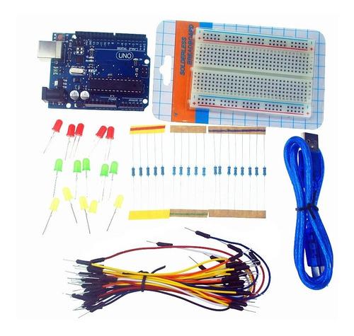 Arduino Uno Kit Leds Cables  Resistencia Protoboard 400punto