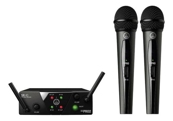 Microfones sem fios AKG WMS40 Mini Dual Vocal Set cardióide preto