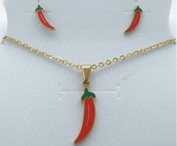 Collar De Chile Rojo Con Aretes Acero Inoxidable