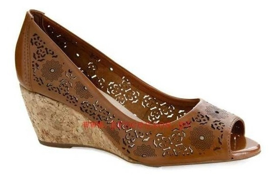 Sapato Peep Toe Bottero Recorte Laser Couro Caramelo