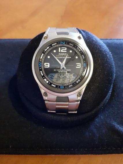 Relógio Casio Aw-82 Fishing Gear Fases Da Lua Pulseira Metal