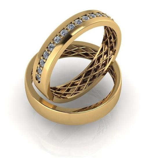 Aliança Casamento Noivado Compromisso Ouro 18k 750