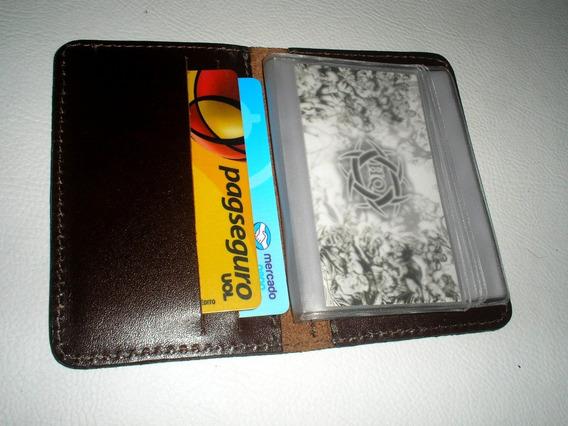 04 Porta Cartões Mini De Banco Couro Legítimo- Cor Pinhão