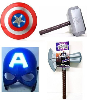 Escudo Capitán América + Másc + Martillo + Hacha Thor - 6 C!