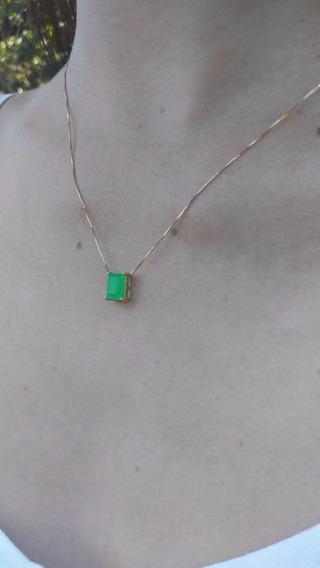 Colar De Ouro 18k Pingente Com Pedra Jade Malásia