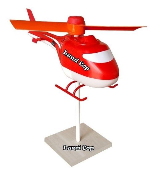 Luminária Abajur Helicóptero Infantil Criança Lampada Led