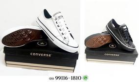 All Star Converse Couro Branco / Preto