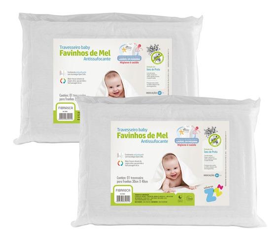 Kit 2 Travesseiros Favinhos De Mel Antissufocante Baby