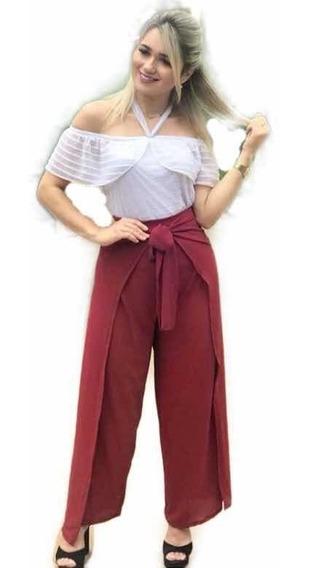 Calça Envelope Pantalona Transpassado Multi Uso Liso