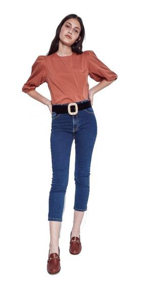Blusa Camisa Mujer Vestir Mangas Globo 3/4 + Botones Atrás